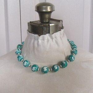 midcentury ceramic bead choker